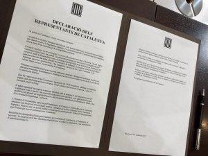 Imatge del document que signaran els diputats de Junts pel Sí, CUP i el Govern.