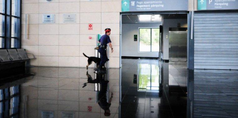 Imatge d'una agent dels Mossos a l'estació de l'AVE del Camp de Tarragona amb un gos de la unitat.