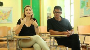 Imatge d'arxiu de Raquel Sans —amb el periodista i regidor Ramon Font.