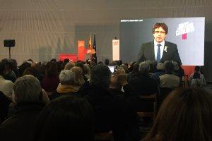 Carles Puigdemont ha parlat en directe des de Brussel·les en l'acte de Tarragona.