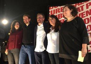 Pablo Iglesias ha acompanyat els seus al teatre del centre cívic de Bonavista, a Tarragona en l'acte central de campanya de Catalunya en Comú Podem.