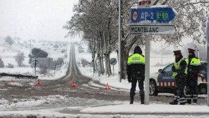 Imatge de la Conca de Barberà amb agents morts de fred.