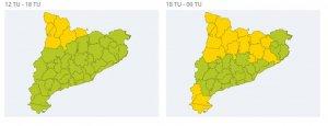 Des d'aquest vespre, pot nevar en algunes zones de les Terres de l'Ebre, segons el mapa d'avisos.