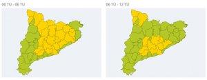 L'alerta per nevades dimarts a Tarragona es manté a l'Alt Camp i la Conca.