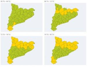 L'alerta per ventades es mantindrà durant la matinada al Baix Camp i, a partir del migdia de dimarts, a l'Ebre.
