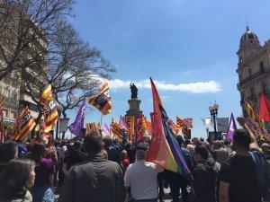 Una imatge de la manifestació d'aquest dimarts al migdia.