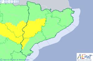 Mapa d'avisos per temperatures extremes a Catalunya aquest dijous