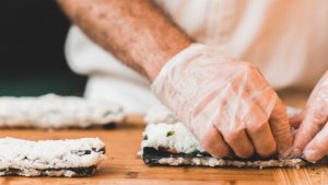To make homemade sushi you need a straw mat, algae, rice and other ingredients.