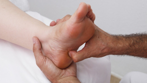 Foot reflexology is an alternative medicine involving application of pressure to the feet.