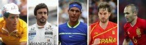 Miguel Indurain, Fernando Alonso, Rafael Nadal, Pau Gasol y Andrés Iniesta, leyendas del deporte español
