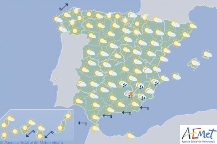 Mapa de previsión para este jueves