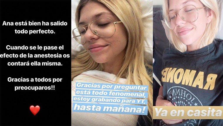 Publicaciones de Anita Matamoros durante su operación de pecho