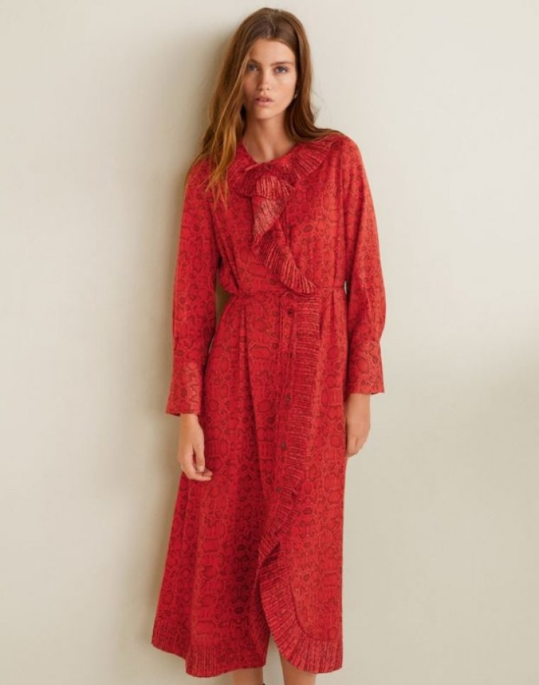 Arrasa Estampado Un Rojo Las Serpiente Con Redes Mango En Vestido dQhtsr