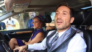 Antonio David Flores junto a su mujer llegando a la boda de Ortega Cano