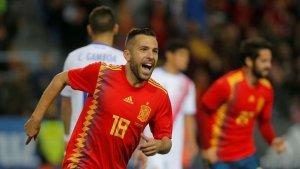 Imagen de Jordi Alba celebrando un gol con la Selección Española.