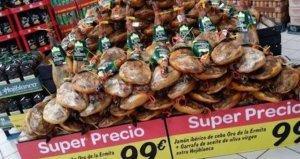 Imagen de piezas de jamón vendidas en Carrefour