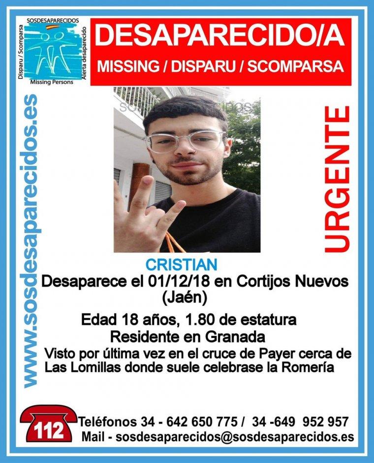 Sigue la búsqueda de Cristian, el joven de 18 años desaparecido en Jaén