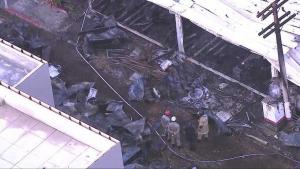 Imagen del incendio en las instalaciones del Flamengo