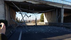 Imagen del puente dañado en Tudela