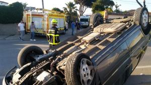Así quedó el vehículo accidentado en la CA-2104