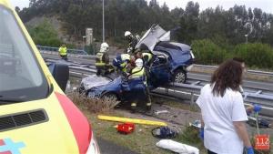 Imagen del vehículo accidentado en la A-8