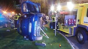 Vehículo accidentado durante la rotonda de Algeciras