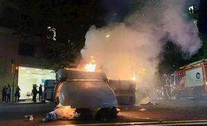 Imagen de un contenedor en llamas.