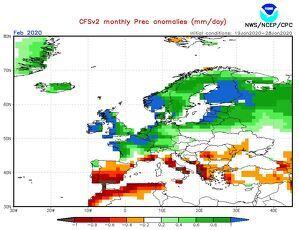 Mapa de la previsión estacional de la NOAA