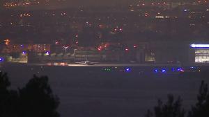 Imagen del avión de Air Canada tras aterrizar en Madrid