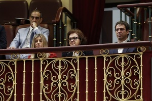 María begoña Gomez with brother in law David Sanchez 'Azagra' and his mother Magdalena Pérez Castejón during the second session of censure motion presentation against Spain´s Prime Minister at Spanish parlament, in Madrid, on Friday 01 june 2018