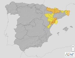Mapa de alertas por fuerte viento en España el 4 de febrero de 2020