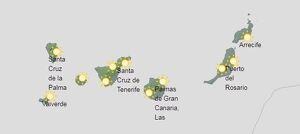 Mapa de símbolos en Canarias este domingo