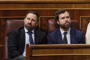 Santiago Abascal e Iván Espinosa en el Congreso de los Diputados el 4 de enero de 2020