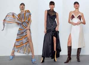 Tres 'looks' con vestidos largos y midi de la colección 'The Gallery' de Zara