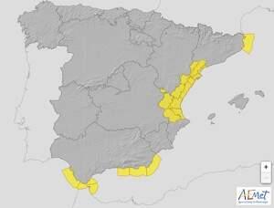 Mapa de avisos de la AEMET para España