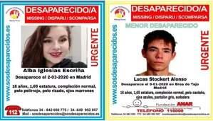 Aviso de búsqueda de dos menores desaparecidos en Madrid durante enero y marzo de 2020