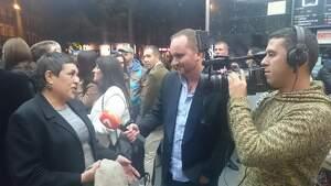 Geli Albadalejo durante un acto en una televisión de Murcia