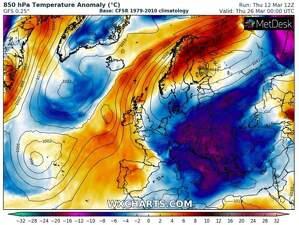 Imagen de un mapa meteorológico