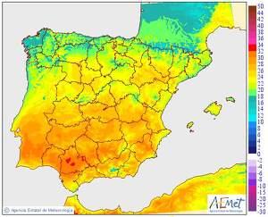 Imagen de la temperatura máxima prevista para este miércoles
