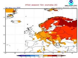 Mapa de predicción de temperaturas para los meses de abril, mayo y junio