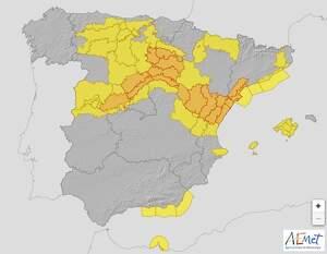 Mapa de alertas meteorológicas en España el 16 de marzo de 2020