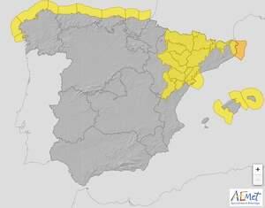 Mapa de avisos de la Aemet