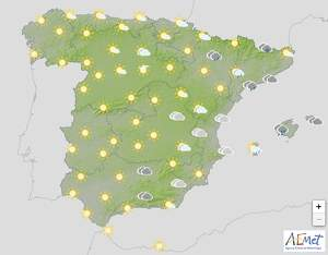 Mapa de previsión en España el 26 de marzo de 2020