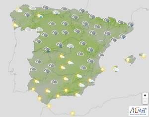 Mapa de previsión en España el 16 de marzo de 2020