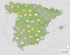 Mapa de previsión en España el 25 de marzo de 2020
