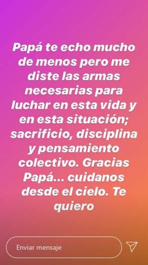 Mensaje de María Patiño publicado en sus redes sociales