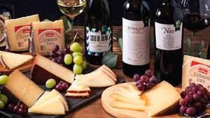 Surtido de quesos, uvas y vinos