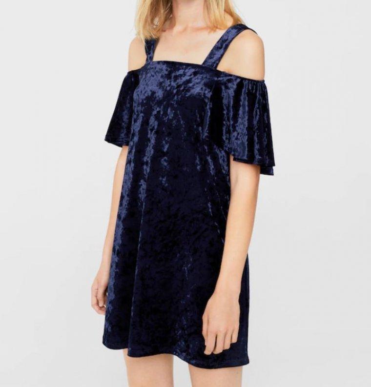 Vestido azul cruzado mango