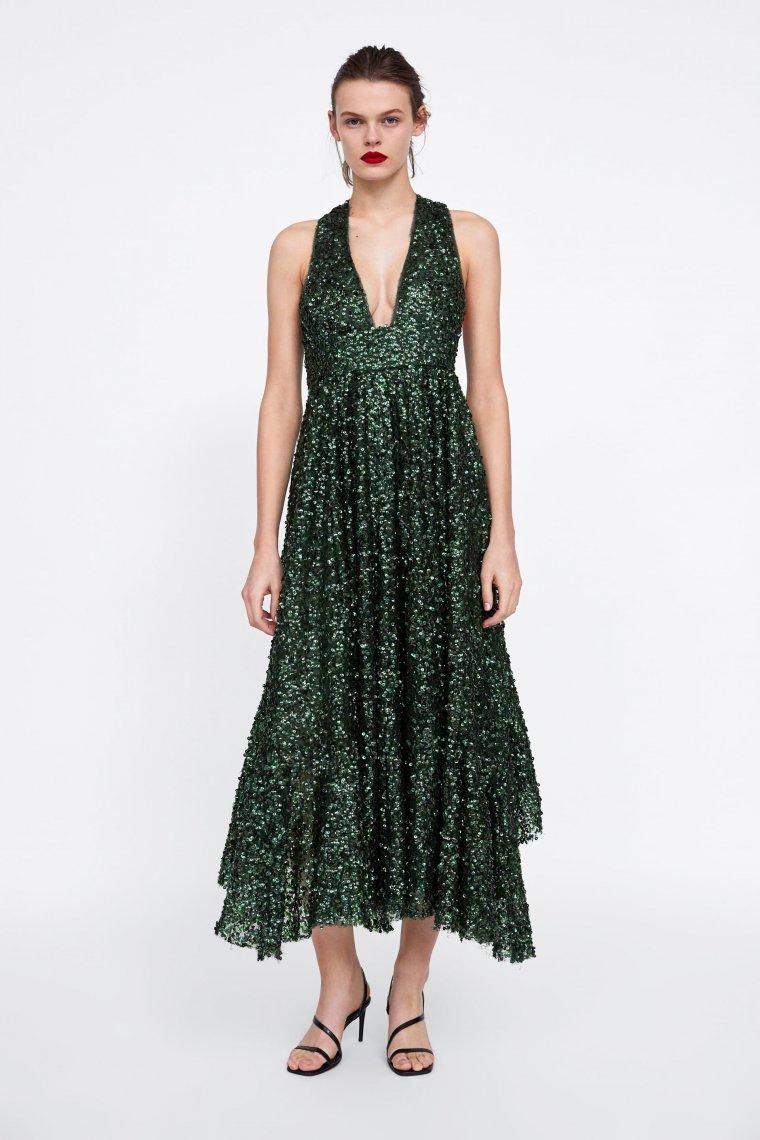 Vestido terciopelo verde botella zara