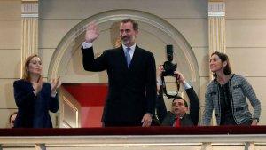 El rey Felipe durante el concierto en el Teatro Real
